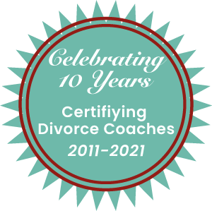 Badge celebrating 10 years certifying divorce coaches
